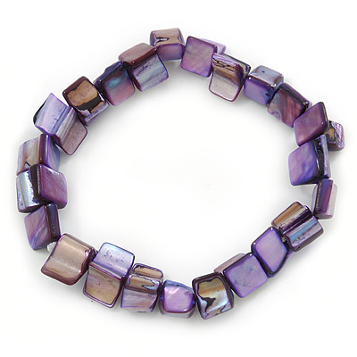 Purple Shell Nugget Stretch Bracelet - 17cm L