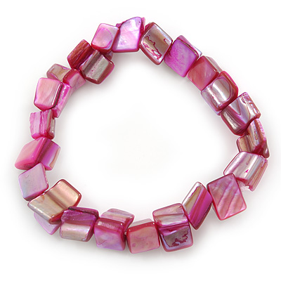 Magenta Shell Nugget Stretch Bracelet - 17cm L