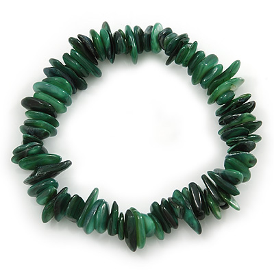 Forest Green Shell Nugget Stretch Bracelet - up to 19cm