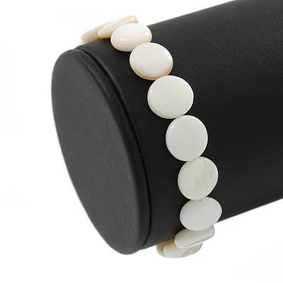 White Sea Shell Flex Bracelet - Adjustable up to 20cm L