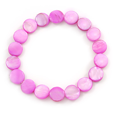 Bright Pink Shell Flex Bracelet - Adjustable up to 20cm L