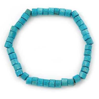 Unisex Teal Wood Bead Flex Bracelet - up to 21cm L