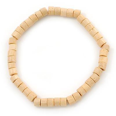 Unisex Natural Wood Bead Flex Bracelet - up to 21cm L