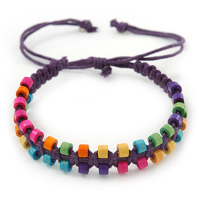 Multicoloured Wood Bead Friendship Bracelet With Purple Cord - Adjustable