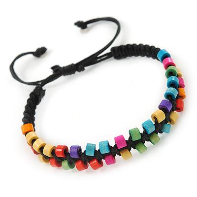 Multicoloured Wood Bead Friendship Bracelet With Black Cord - Adjustable