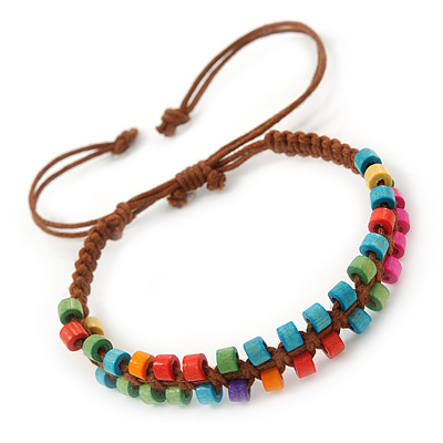 Multicoloured Wood Bead Friendship Bracelet With Brown Cord - Adjustable