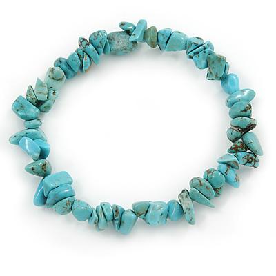 Turquoise Nugget Stone Beads Flex Bracelet - 18cm L