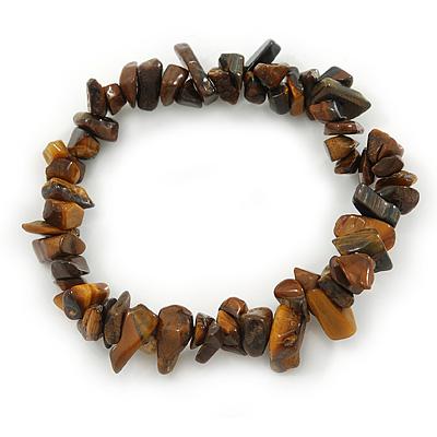 Tiger Eye Semi-Precious Nugget Stone Flex Bracelet - 18cm L