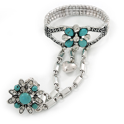 Vintage Inspired Round Turquoise Flower Flex Bracelet With Ring Attached - 20cm Length, Ring Size 7/8