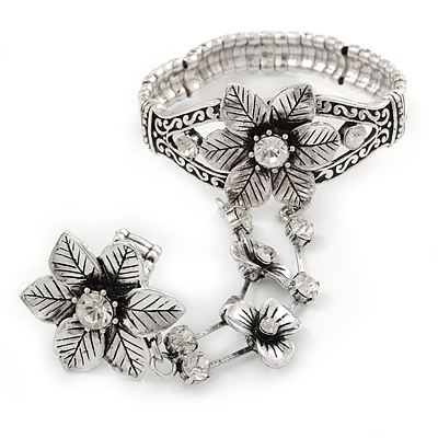 Vintage Inspired Crystal Floral Flex Bracelet With Daisy Flower Crystal Ring Attached - 18cm Length, Ring Size 7/8