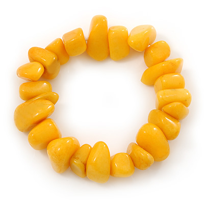 Yellow Agate Chip Semi-Precious Stone Flex Bracelet - 18cm L