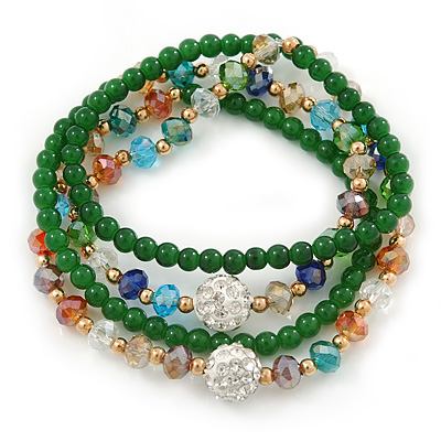 Green Agate Stone, Multicoloured Glass Crystal Bead Flex Bracelet/ Necklace - 66cm L