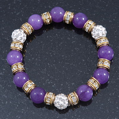 10mm Purple Agate Stone, Gold Crystal Spacers And White Crystal Balls Flex Bracelet - 17cm L