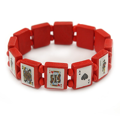 Red Wooden Playing Cards Stretch Icon Bracelet - 18cm L