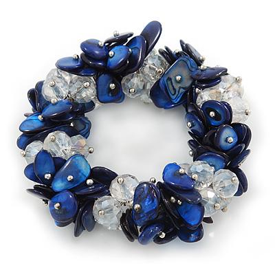 Cobal Blue Shell Chip, Transparent Glass Bead Clustered Stretch Bracelet - 19cm L