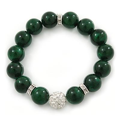 12mm Green Agate Stone With White Crystal Disco Ball Flex Bracelet - 18cm L