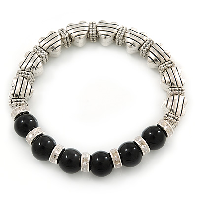 Antique Silver Tone Heart Etched Bead And 10mm Black Agate Stone Stretch Bracelet - 19cm L