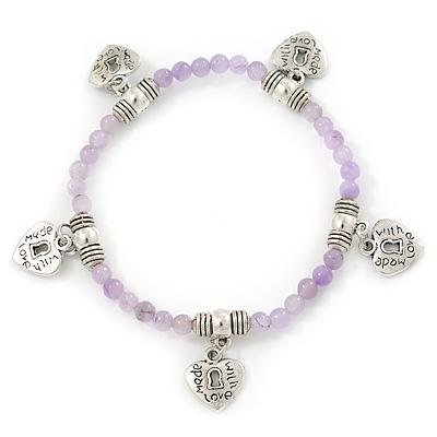 Pale Lilac Semiprecious Stone with Heart Charms Stretch Bracelet - 20cm L