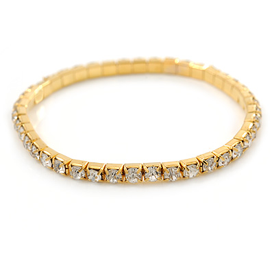 Gold Tone Clear Crystal Delicate One Row Stretch Bracelet - 17cm L