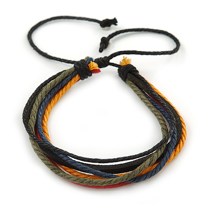 Unisex Multicoloured Multi Cotton and Leather Cord Friendship Bracelet - Adjustable