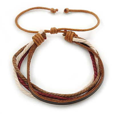 Unisex Multicoloured Multi Cotton and Leather Cord Friendship Bracelet (Brown, Beige) - Adjustable