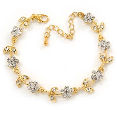 Gold Plated Clear Crystal Daisy Bracelet - 16cm Length/ 5cm Extension