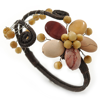 Semiprecious Beaded 'Flower' Flex Bangle Bracelet in Brown/ Cream Tone - Adjustable
