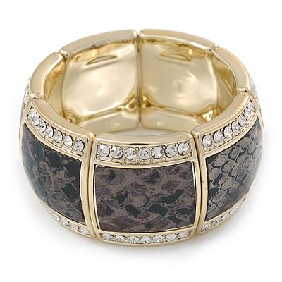 Grey/ Black Snake Print, Crystal Flex Bracelet In Gold Tone - up to 18cm L
