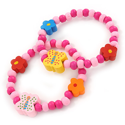 Children's/ Teen's / Kid's Pink Wood Bead with Flowers and Butterfly's Flex Bracelet - Set of 2pcs - Adjustable