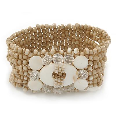 Antique White Glass Bead Flex Bracelet with Shells - up 20cm L