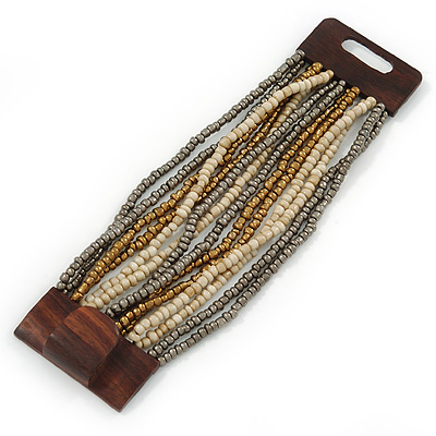 Grey/ Bronze/ Antique White Glass Bead Multistrand Flex Bracelet With Wooden Closure - 19cm L