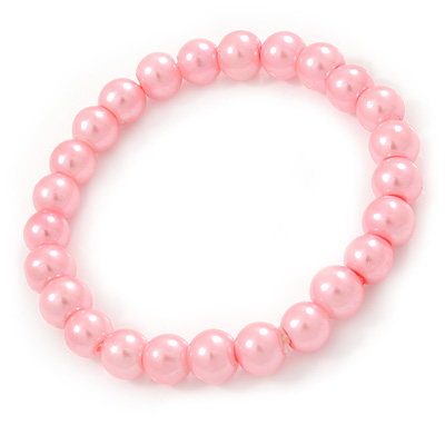 8mm Light Pink Pearl Style Single Strand Bead Flex Bracelet - 18cm L - main view