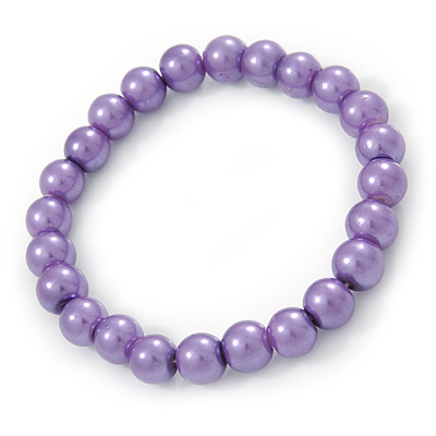 8mm Purple Pearl Style Single Strand Bead Flex Bracelet - 18cm L