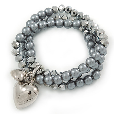 3 Strand Grey Glass Pearl, Metallic Silver Crystal Bead with Puffed Heart Charm Flex Bracelet - 20cm L