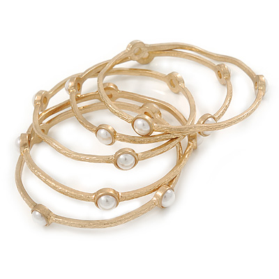 Off Round Etched  Gold Tone with White Glass Pearls Bangles - Set of 5 Pcs