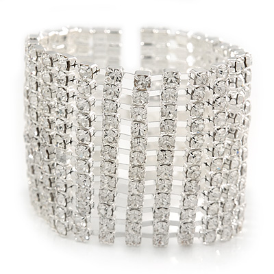 Avalaya Wide 'Woven' Wire Cuff Bracelet In Silver Tone - up to 19cm wrist BnnQ0
