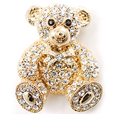 Gold Teddy Bear Costume Brooch - main view
