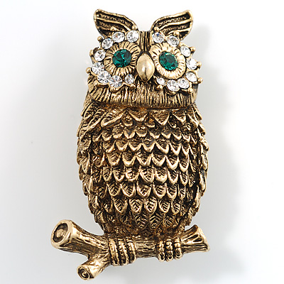 Copper Crystal Owl Brooch