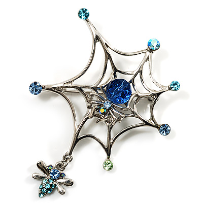 Silver Plated Rhinestone Spider Web Brooch