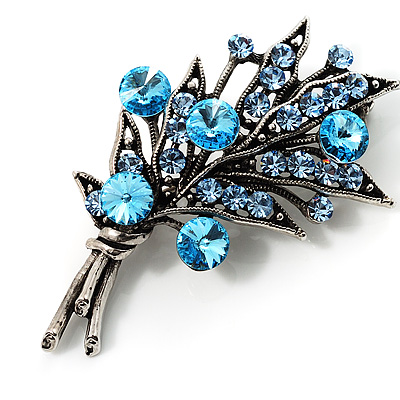 Antique Silver Blue Diamante Flower Bouquet Brooch