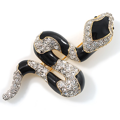 Mesmerizing Black Swarovski Crystal Snake Brooch