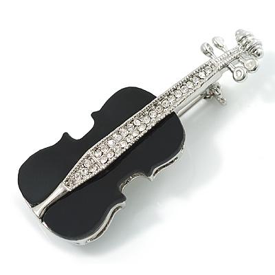 Silver Tone Crystal Violin Costume Brooch