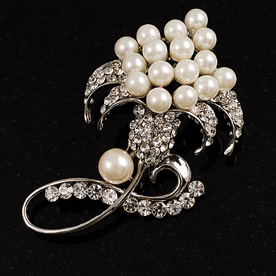 Large Pearl Flower Fashion Wedding Brooch