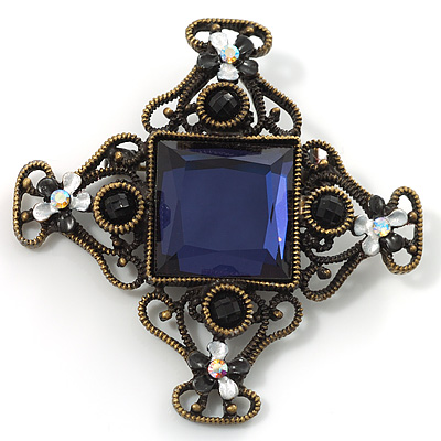 Blue Glass Square Vintage Brooch
