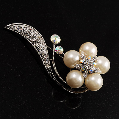 Oversized Stunning  Flower Pearl Style Crystal Pin Brooch (Silver&amp;Snow White)