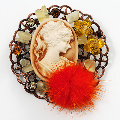 Cameo Orange Feather Brooch