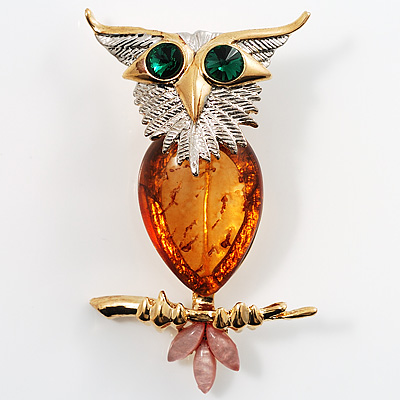 Exquisite Amber Style Owl Brooch