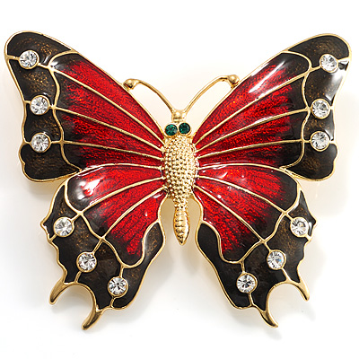 Oversized Gold Red Enamel Butterfly Brooch - main view