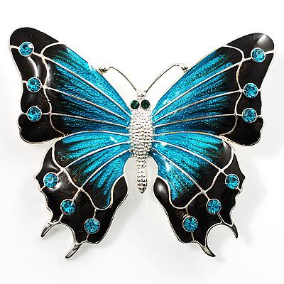 Oversized Silver Teal Enamel Butterfly Brooch - main view