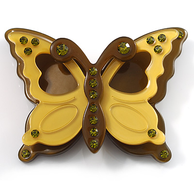 Pretty Olive Plastic Butterfly Brooch - main view